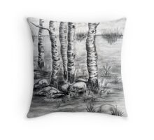 Meeting Lake Throw Pillow