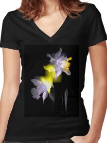 Cubist Daffodils Women's Fitted V-Neck T-Shirt