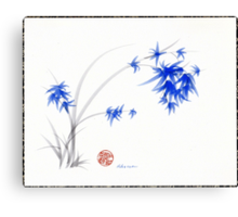 """Soft Blue Flowers"" Chinese Painting by Rebecca Rees Canvas Print"