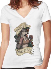WRECK IT LIKE A WEREWOLF- SFW Women's Fitted V-Neck T-Shirt