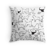 Dog Crazy! Black n White Throw Pillow