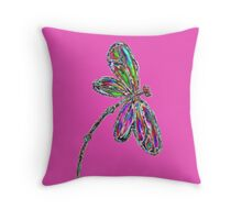 Neon Dragonfly - Magenta Pink Throw Pillow