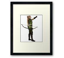Blonde Female Elf Archer, Pointing Framed Print