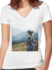 Walk with nature Women's Fitted V-Neck T-Shirt