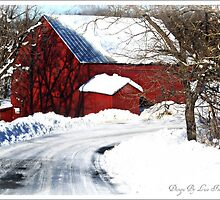 Snowy road home by designsbylisa