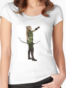 Blonde Female Elf Archer, Pointing Women's Fitted Scoop T-Shirt