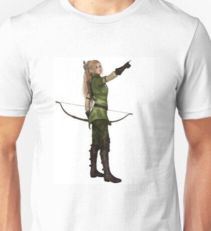 Blonde Female Elf Archer, Pointing Unisex T-Shirt