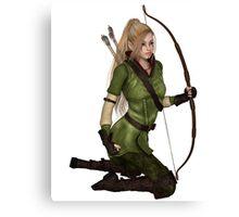 Blonde Female Elf Archer, Kneeling Canvas Print