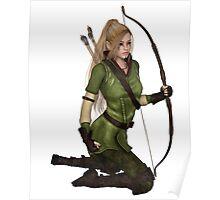 Blonde Female Elf Archer, Kneeling Poster