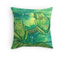 Two Green Frogs Throw Pillow