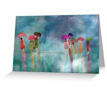 Shoppers on a Rainy Day Greeting Card
