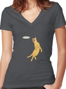 Frisbee Cat Women's Fitted V-Neck T-Shirt