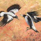 Squabbling Magpies oil painting _ art print version by EnPassant