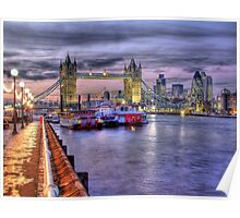 Tower Bridge And River Boats - HDR Poster