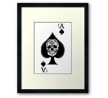 Ace of spades Sugar skull Tattoo graphic art Framed Print
