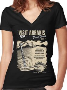 Visit Arrakis Women's Fitted V-Neck T-Shirt