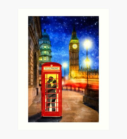 One Romantic Night In London Art Print