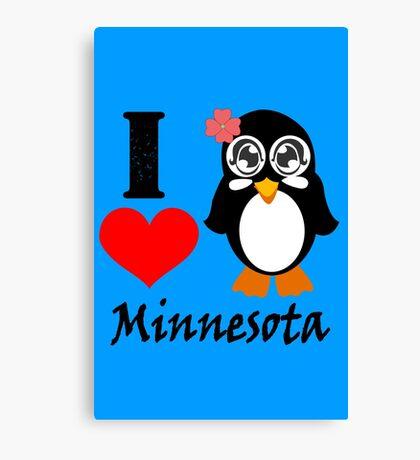 Minnesota penguin i love minnesota geek funny nerd Canvas Print