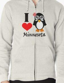 Minnesota penguin i love minnesota geek funny nerd Zipped Hoodie