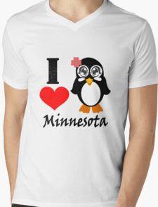 Minnesota penguin i love minnesota geek funny nerd Mens V-Neck T-Shirt