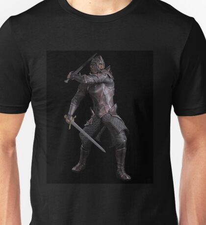Dark Fantasy Knight with Two Swords Unisex T-Shirt