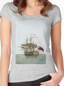 Vintage Galleon Ship Painting Women's Fitted Scoop T-Shirt