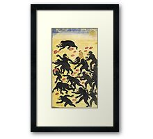 The monkeys outwitting the bears Vintage Fable illustration Framed Print