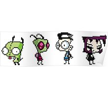 8-Bit Invader Zim Characters Poster