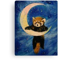 Red Panda Stars Canvas Print