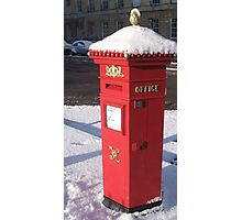 Red Pillar Box like a beacon in the snow Photographic Print