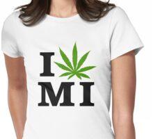 I Love Michigan Marijuana Cannabis Weed Womens Fitted T-Shirt
