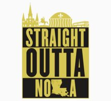Straight Outta NOLA (Black and Gold) Kids Tee