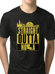 Straight Outta NOLA (Black and Gold) Tri-blend T-Shirt