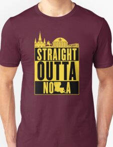 Straight Outta NOLA (Black and Gold) Unisex T-Shirt