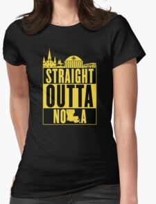 Straight Outta NOLA (Black and Gold) Womens Fitted T-Shirt