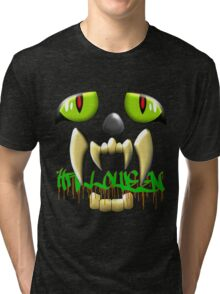 Scary Teeth and Eyes Halloween T-shirt, etc. design Tri-blend T-Shirt