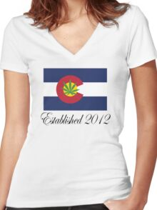 Colorado Marijuana 2012 Women's Fitted V-Neck T-Shirt