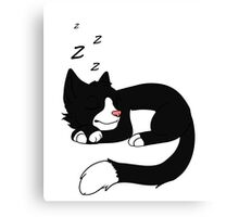 Sleepy Tuxedo Cat Canvas Print