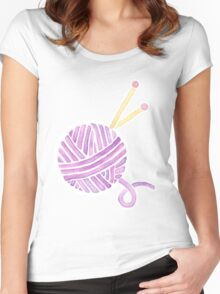 Ball of Yarn - Knitting Watercolor Women's Fitted Scoop T-Shirt