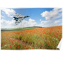 Avro Vulcan B2 bomber over a field of red poppies Poster