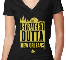 Straight Outta New Orleans (Black and Gold) Women's Fitted V-Neck T-Shirt