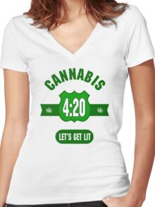 Cannabis 420 Women's Fitted V-Neck T-Shirt