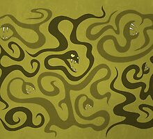 Green Evil Snakes In Love by Boriana Giormova