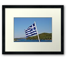 Greek flag, Meganissi Framed Print