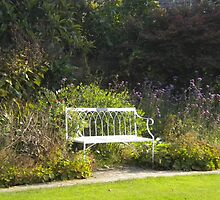 White Bench in English Garden by evissaboutique