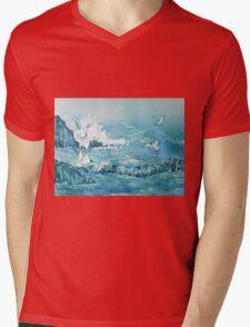 Wild Waves with Gulls Mens V-Neck T-Shirt