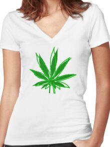 Abstract Cannabis Leaf Women's Fitted V-Neck T-Shirt
