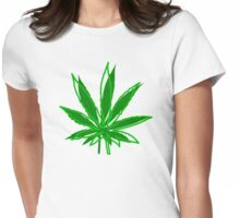 Abstract Cannabis Leaf Womens Fitted T-Shirt