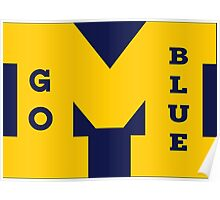 M Go Blue in Gold Poster