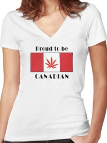 Canadian Flag Weed Women's Fitted V-Neck T-Shirt